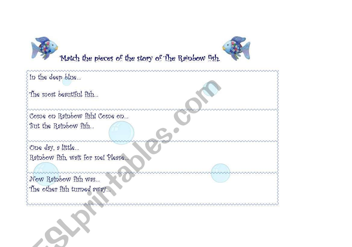 English Worksheets The Rainbow Fish Match