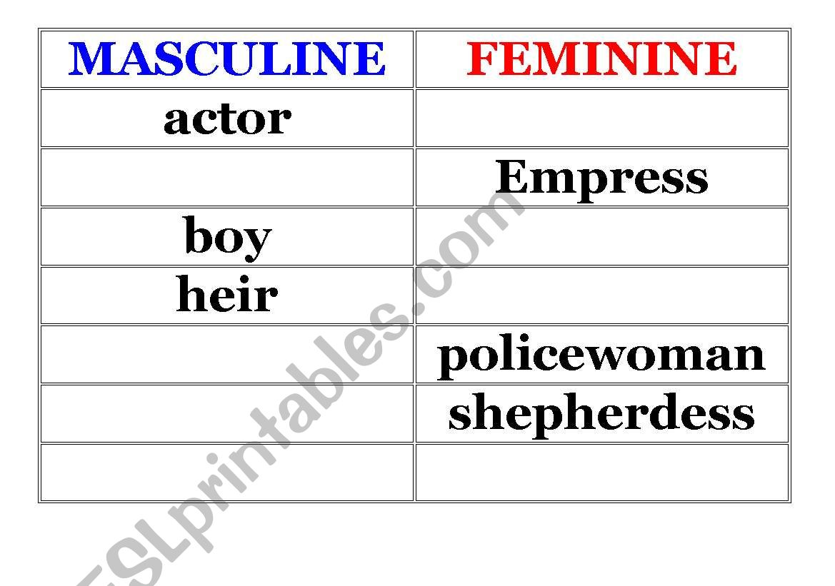 English Worksheets Masculine And Feminie Nouns
