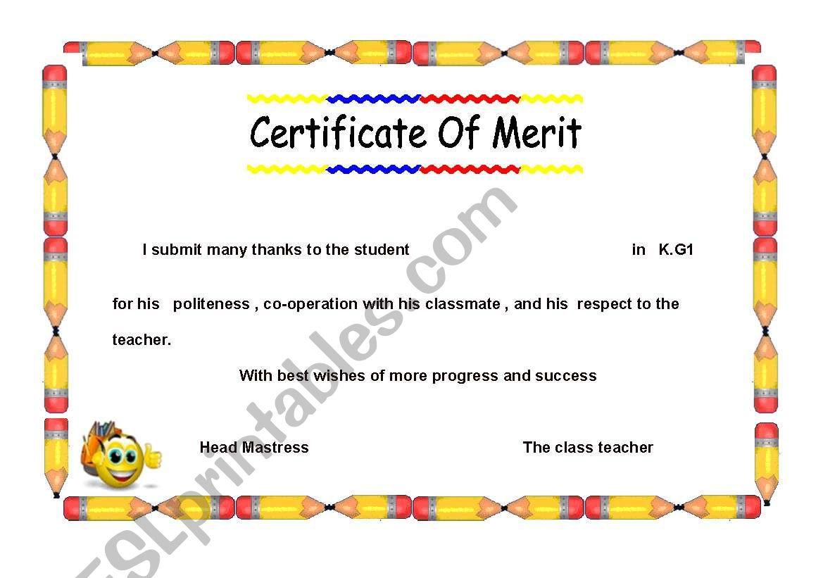 Certificate For Kg Children