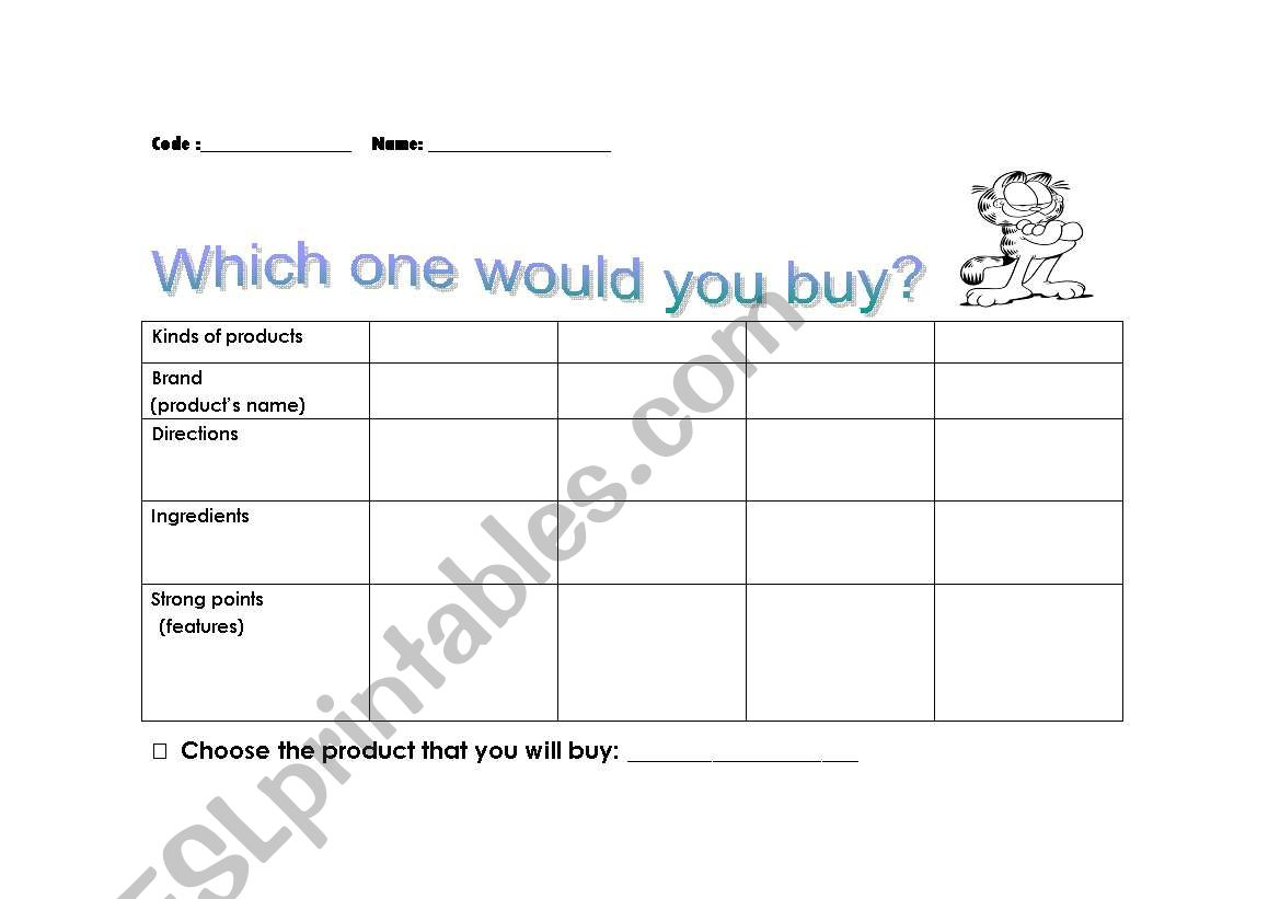 English Worksheets Comparing Products By Reading Labels