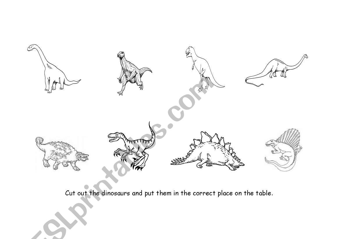 English Worksheets Carnivore And Herbivore Dinosaur Pictures