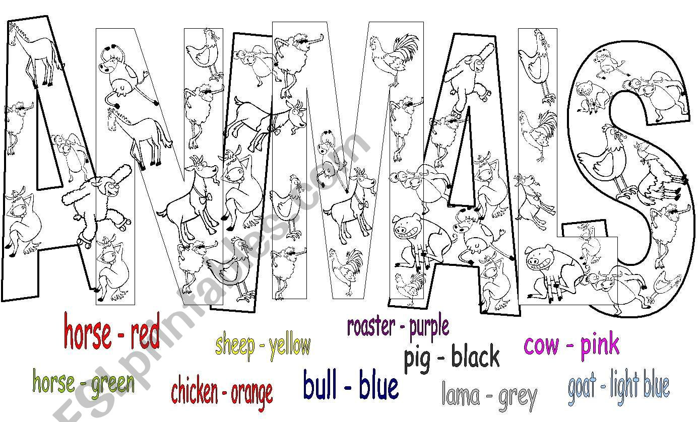 Find And Colour The Animals