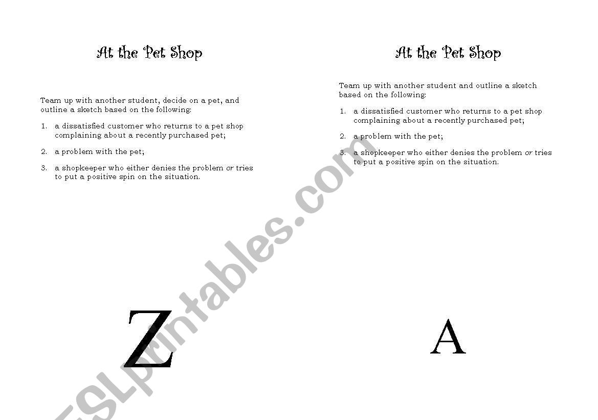English Worksheets At The Pet Shop Role Play