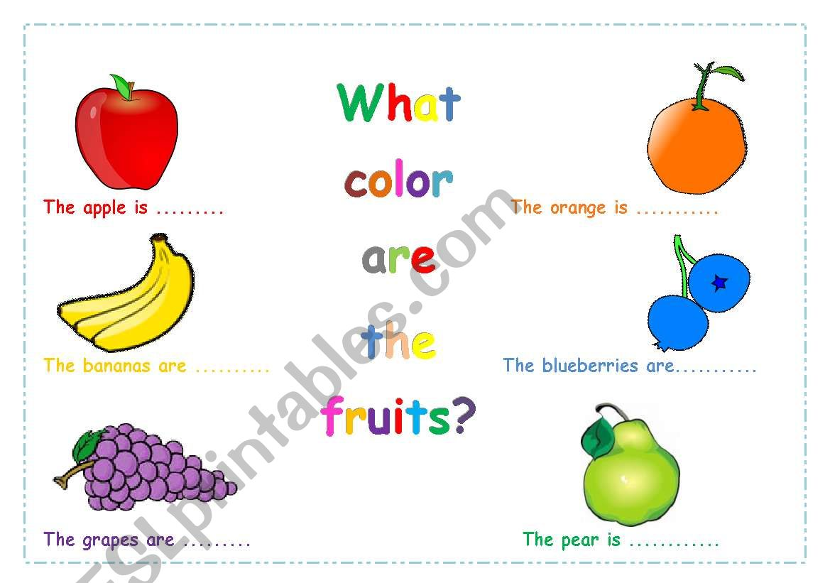 English Worksheets Colours Of Fruits
