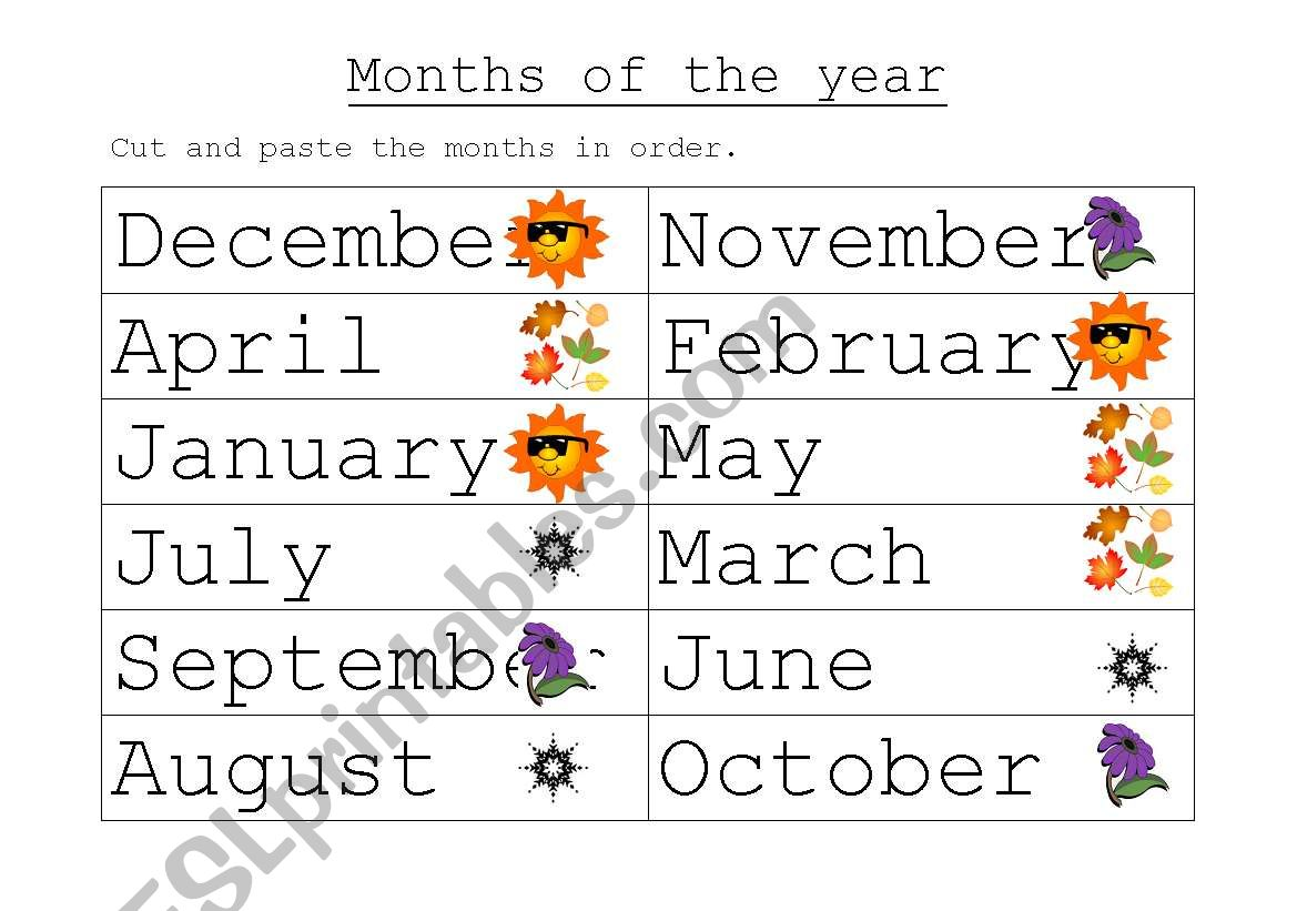 English Worksheets Months Of The Year