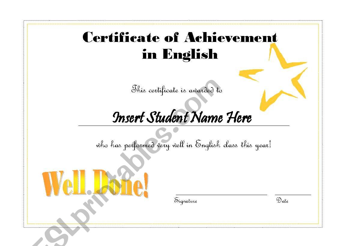 Editable English Certificate