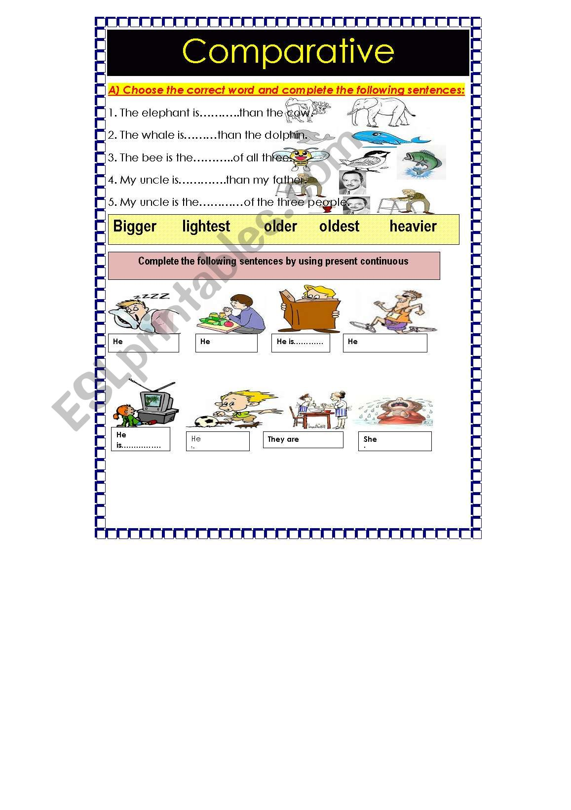 English Worksheets Comparative