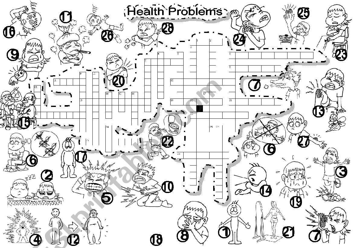 Health Problems Criss Cross Puzzle