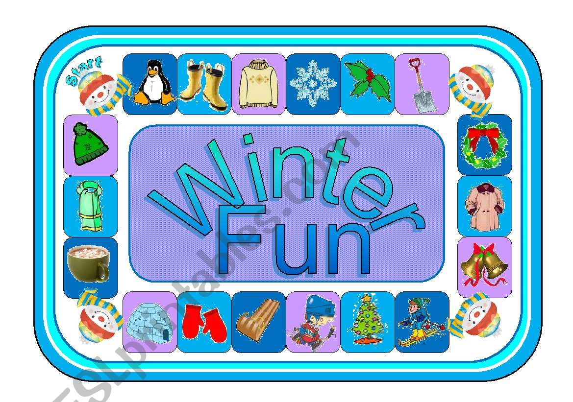 Winter Fun Gameboard With Clip Art Greyscale Version