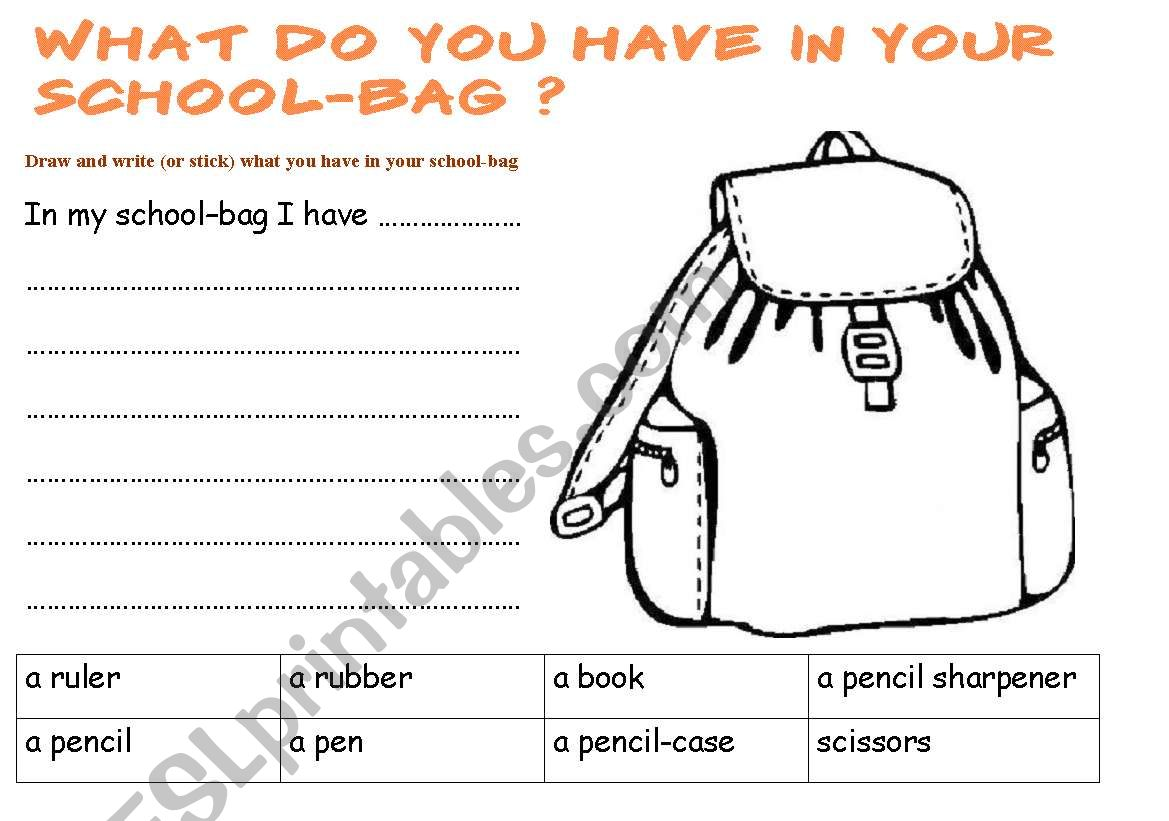 What Do You Have In Your Schoolbag