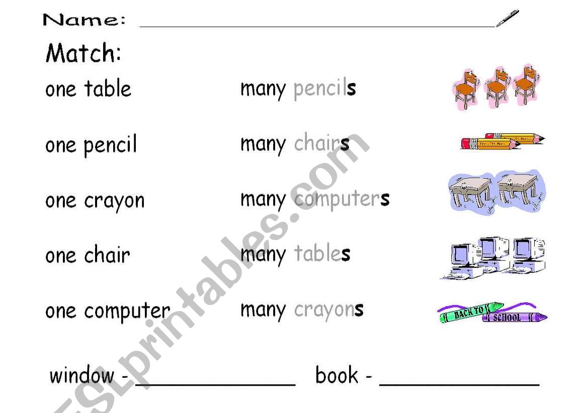 English Worksheets One And Many