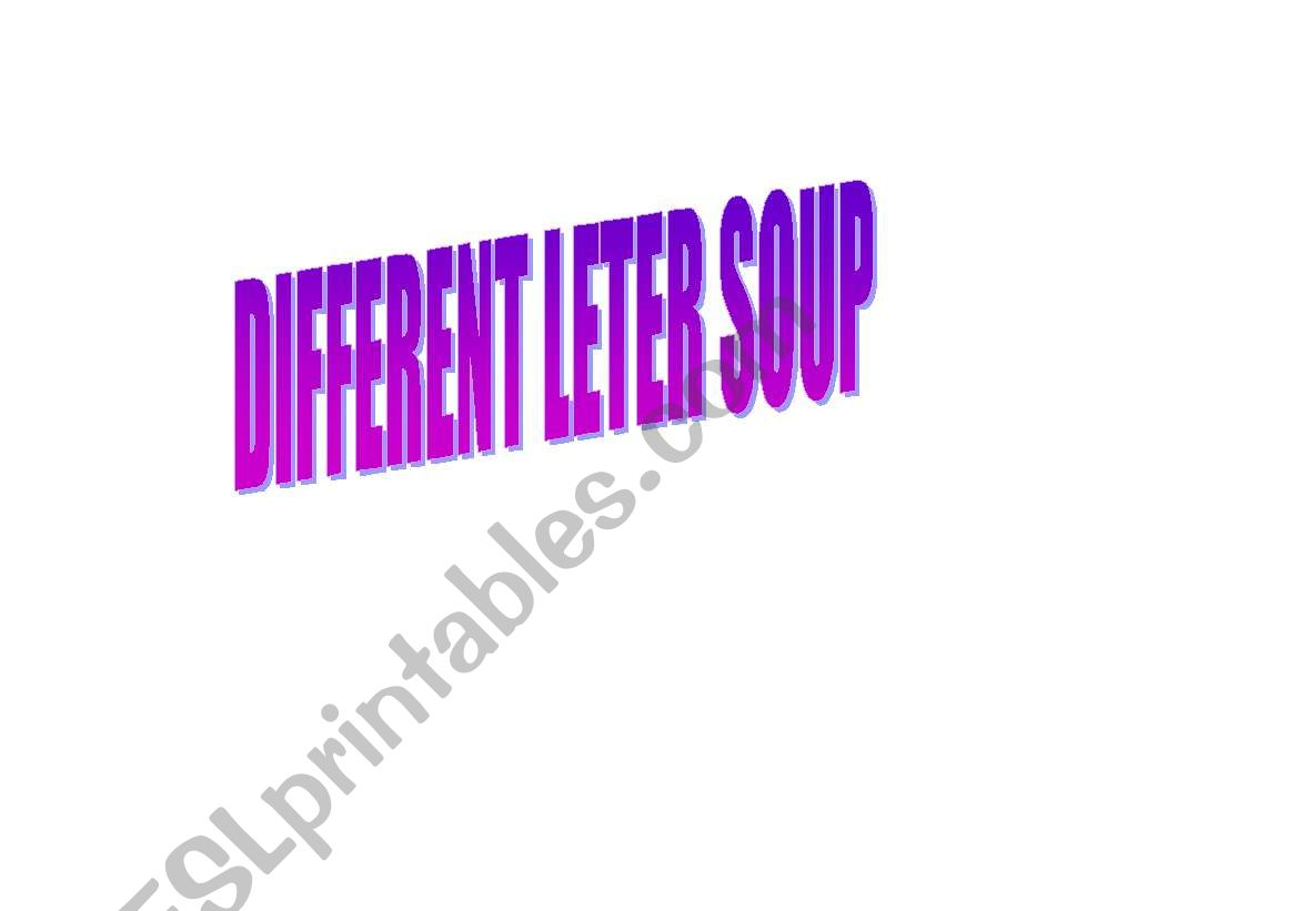 English Worksheets Letter Soup