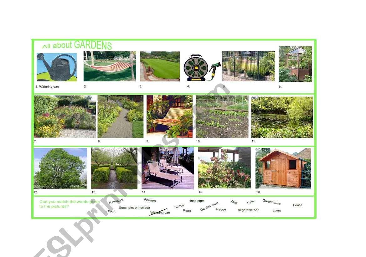 English Worksheets Garden Vocabulary