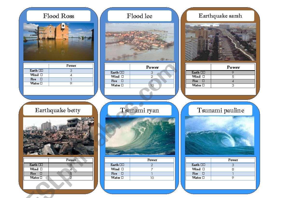 Natural Disaster Top Trump Cards