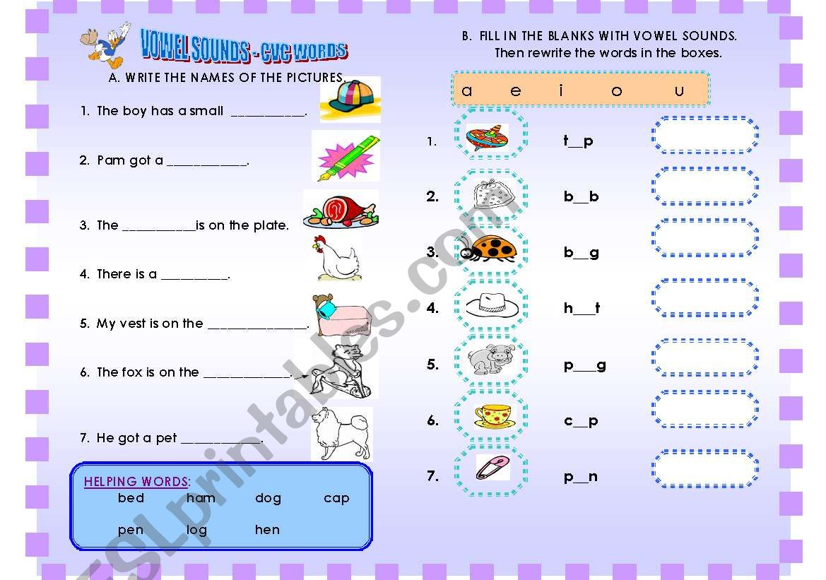 English Worksheets Sentence Completion With C V C Words