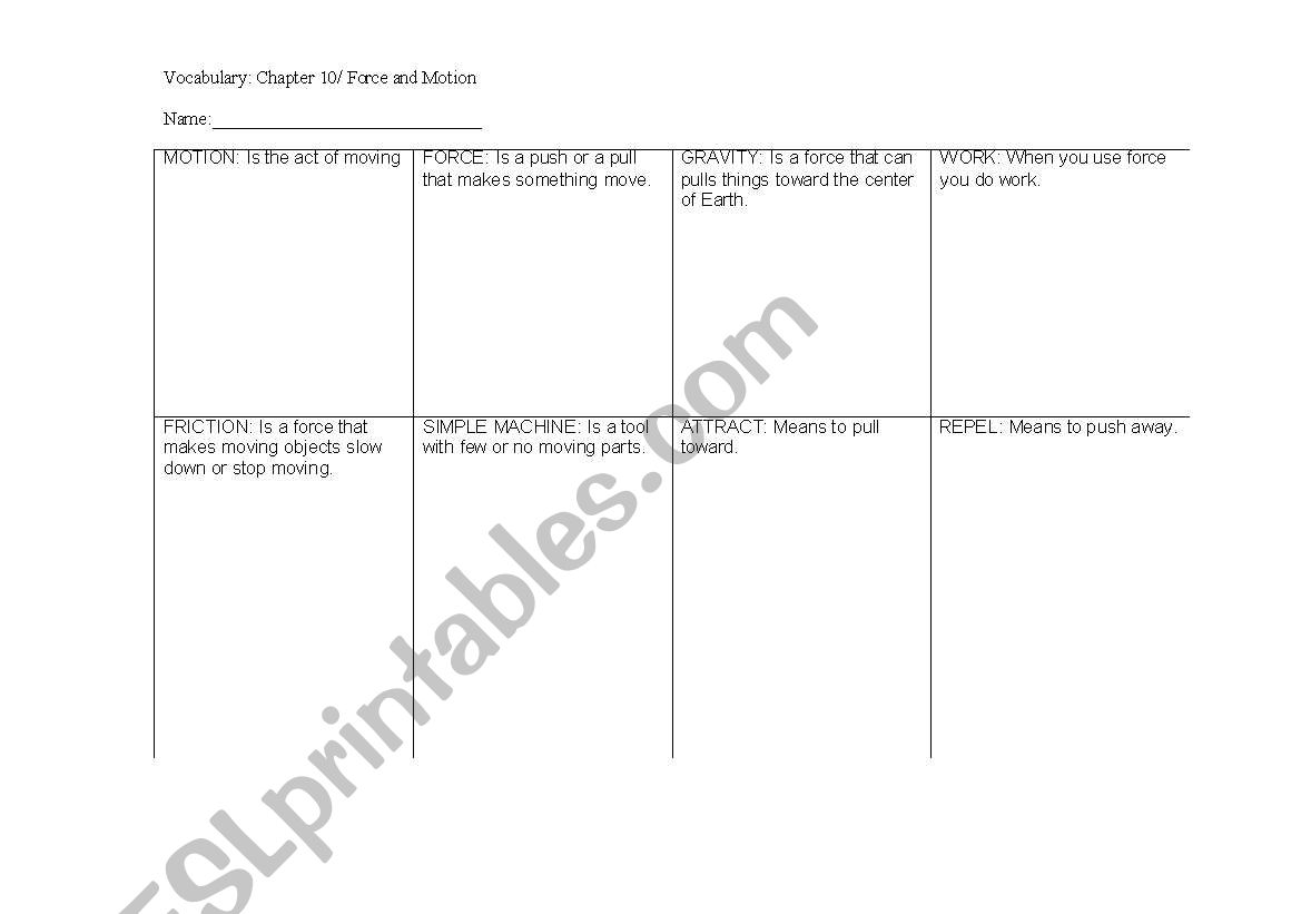 English Worksheets Force And Motion Vocabulary