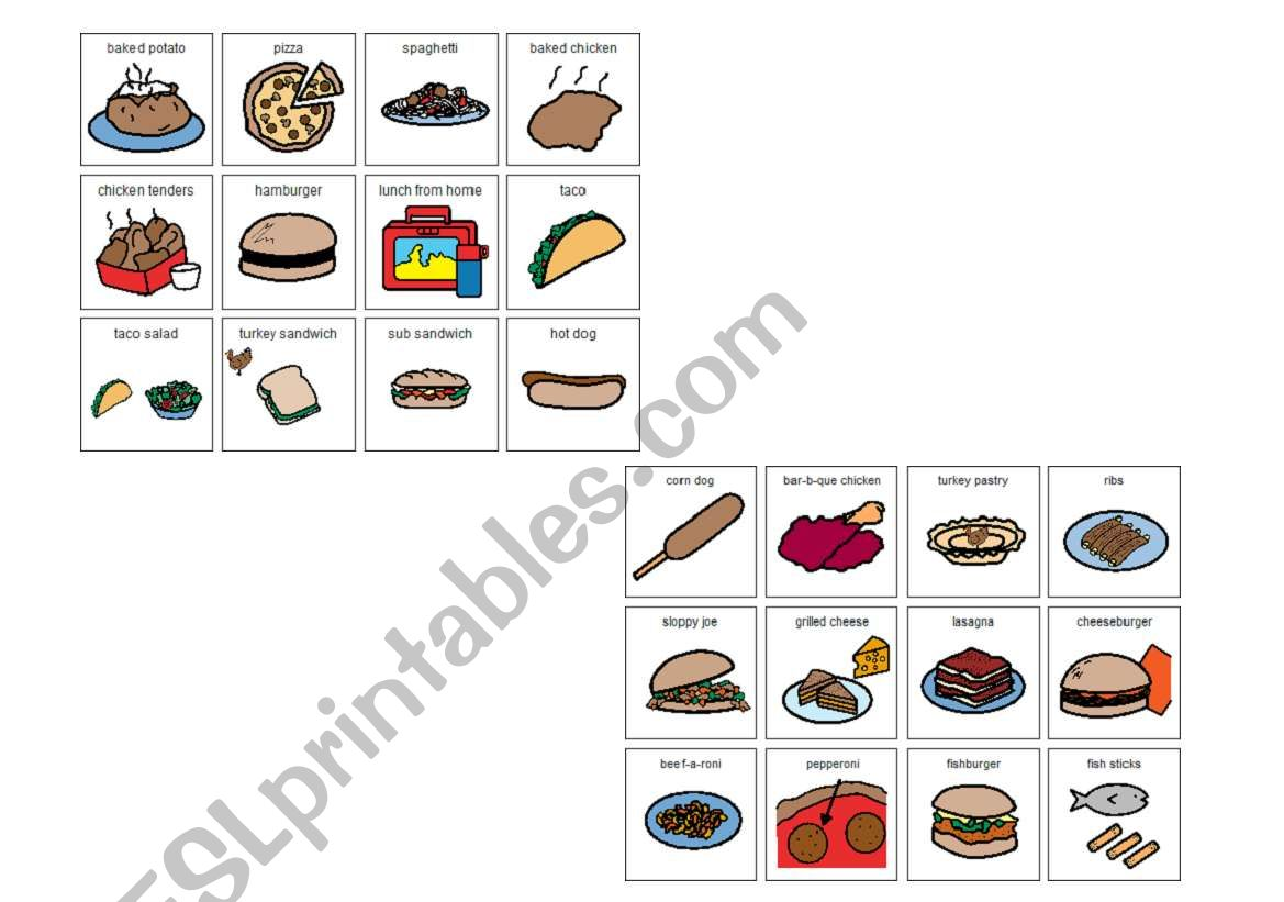 English Worksheets Lunch Choices