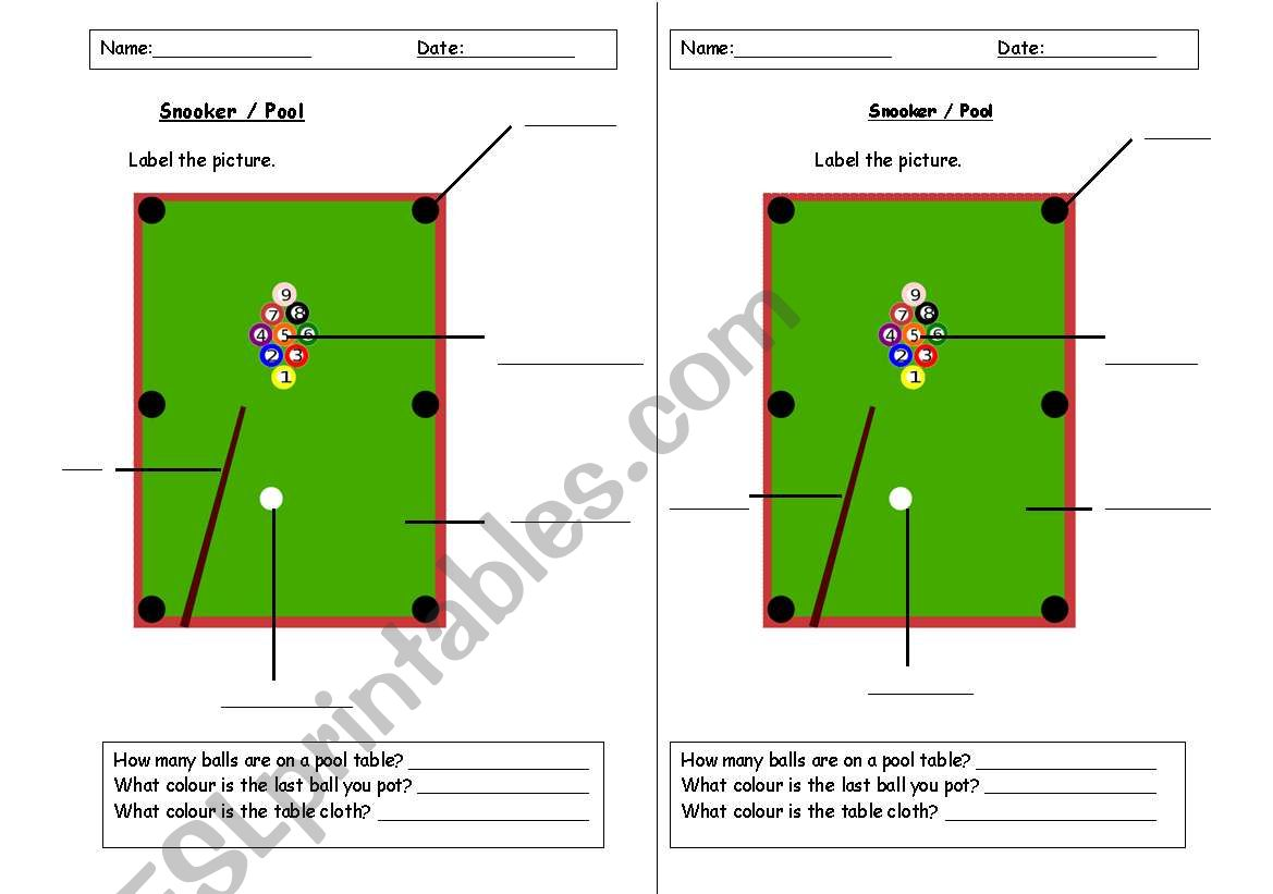 English Worksheets Snooker Pool Vocabulary