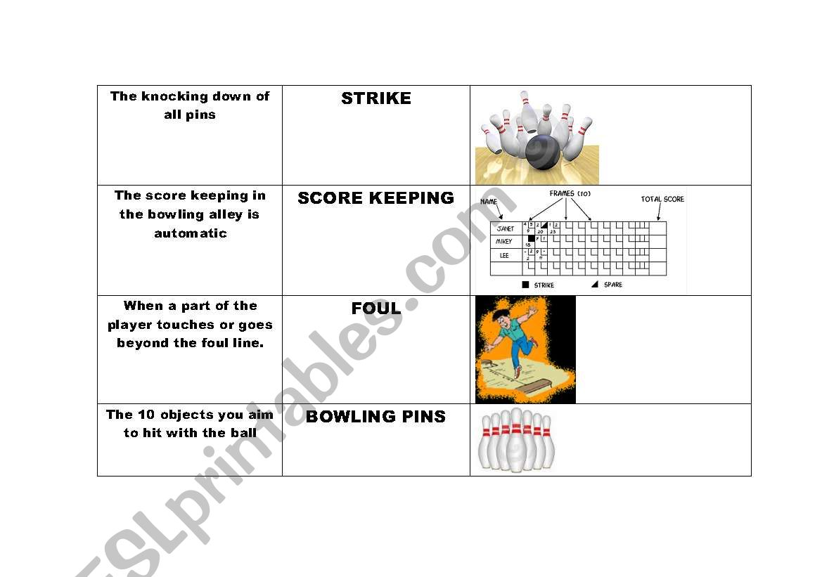 English Worksheets Esl Bowling Terms And Definitions With