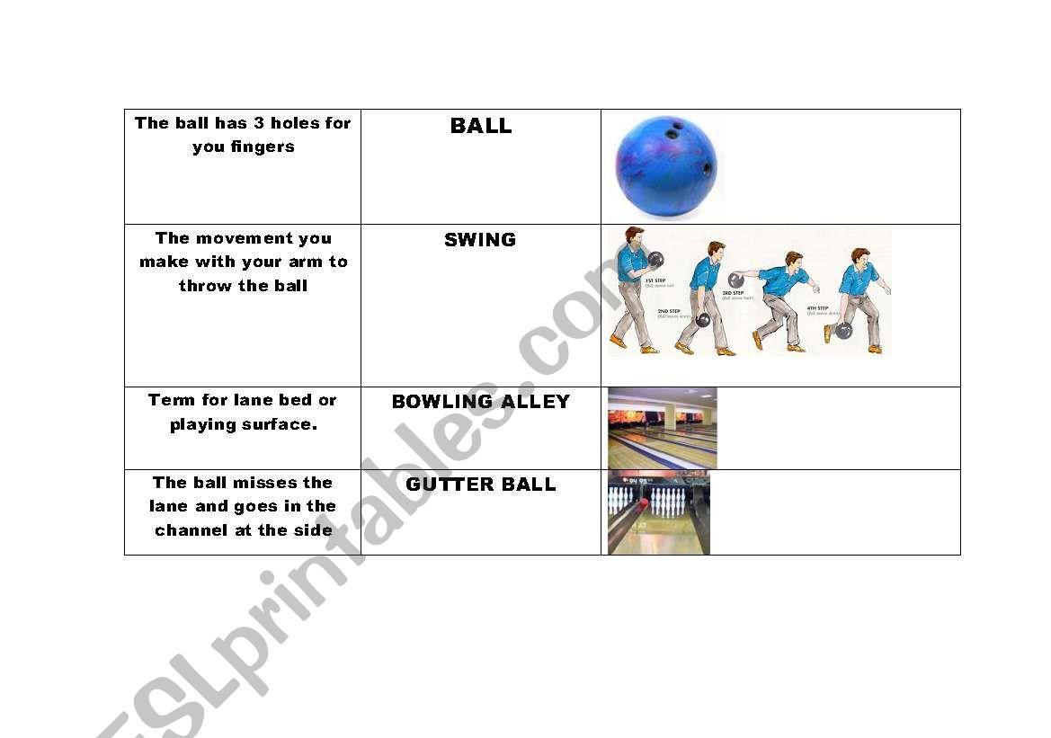 English Worksheets Esl 10 Pin Bowling