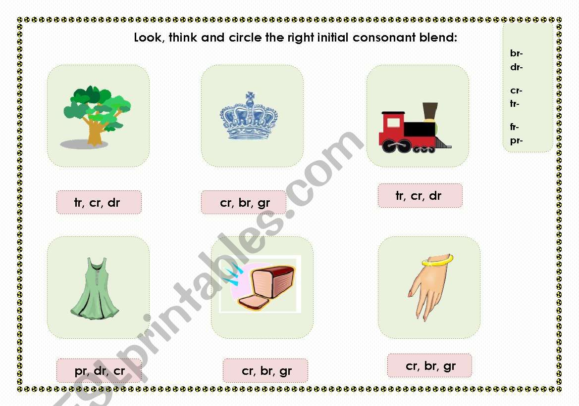 English Worksheets Initial Consonant Blends