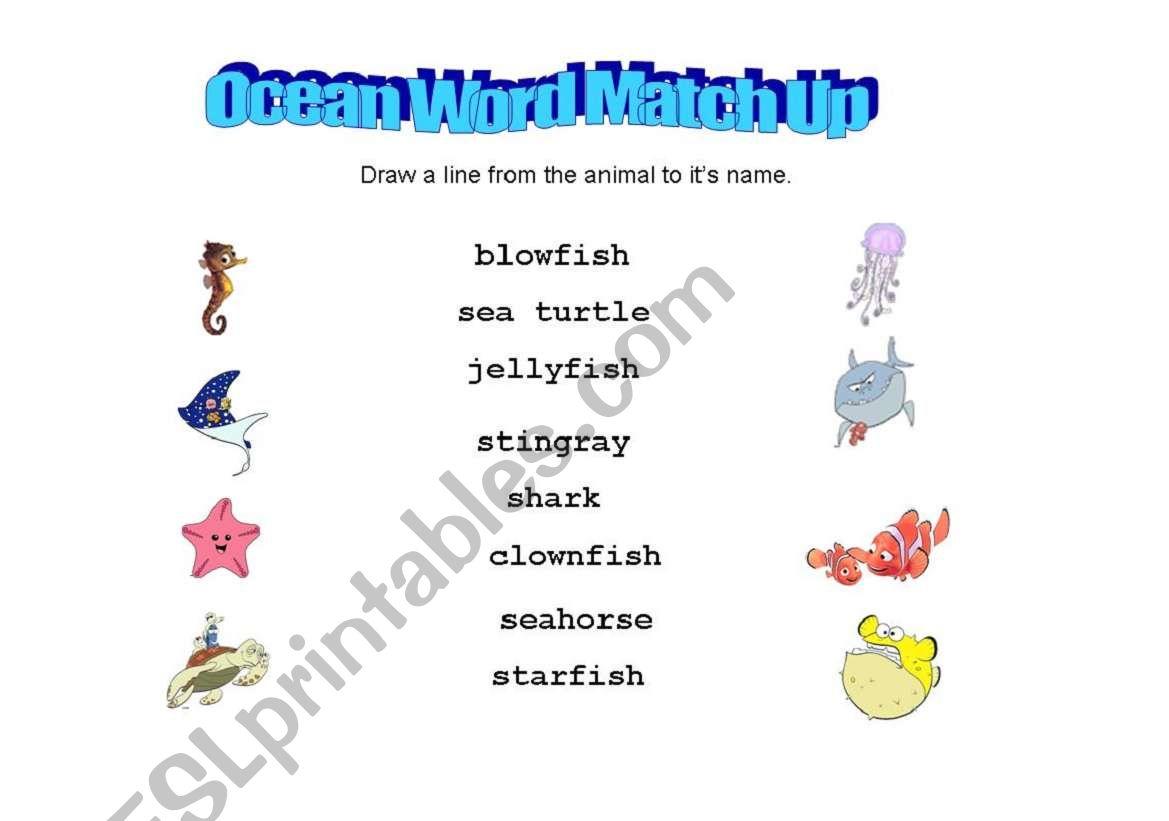 English Worksheets Ocean Animals Word Match