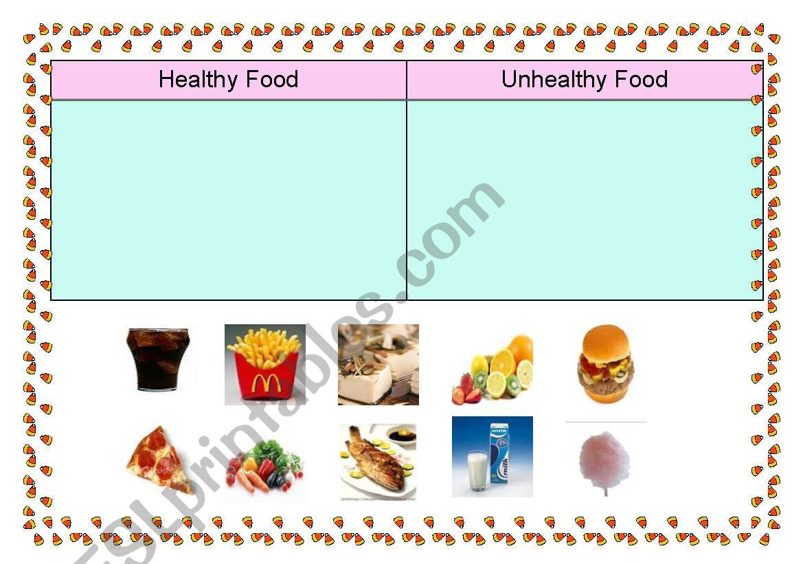 English Worksheets Healthy Food And Unhealthy Food Sorting