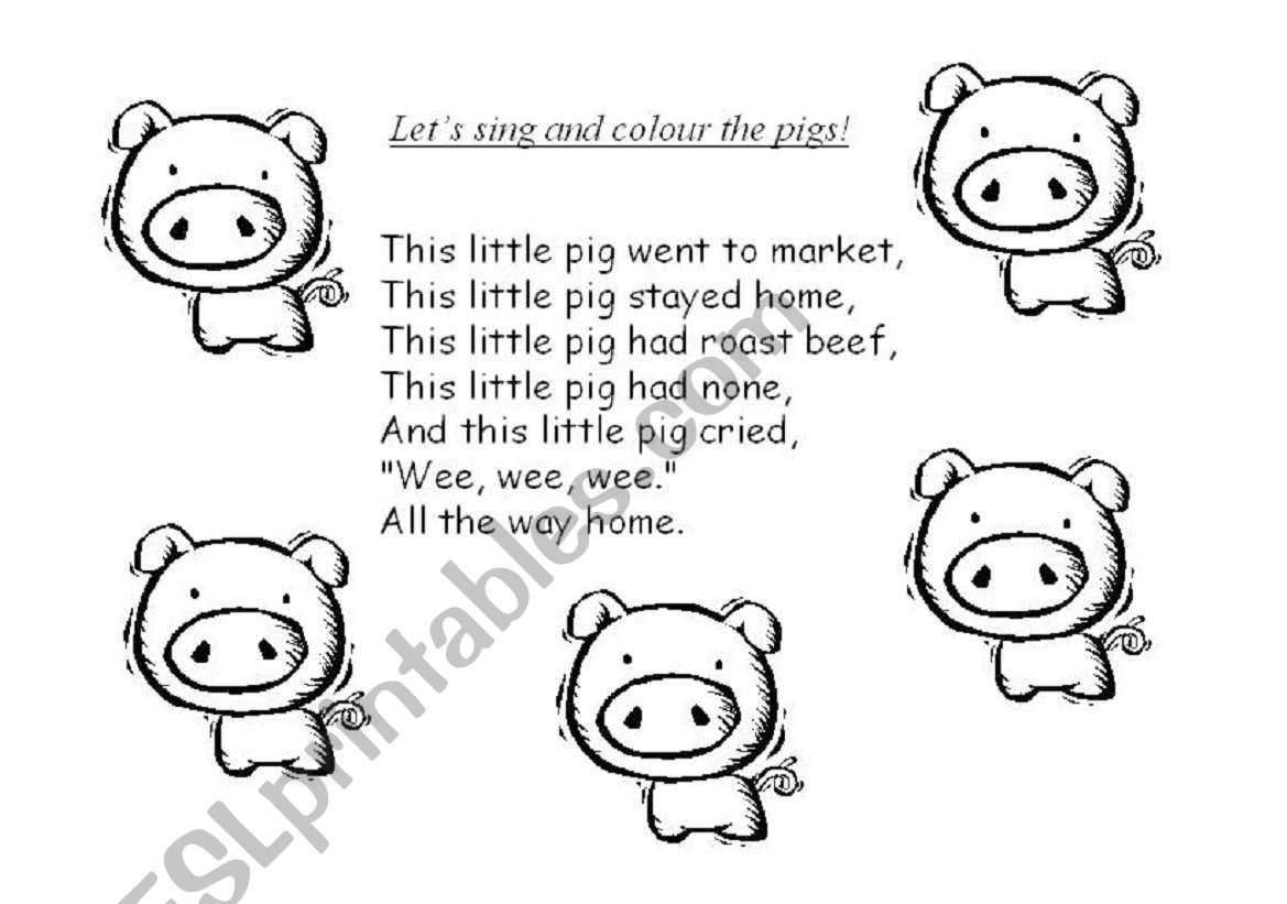 English Worksheets This Little Pig Song