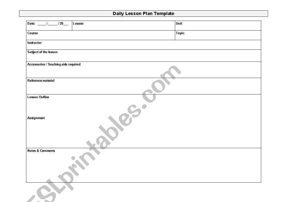 English Worksheets Daily Lesson Plan Template