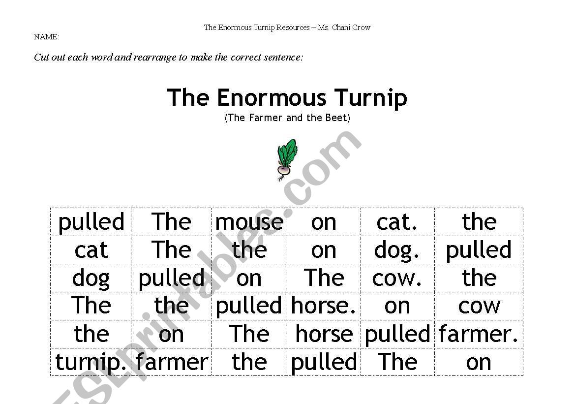 English Worksheets The Enormous Turnip Mixed Up Sentences
