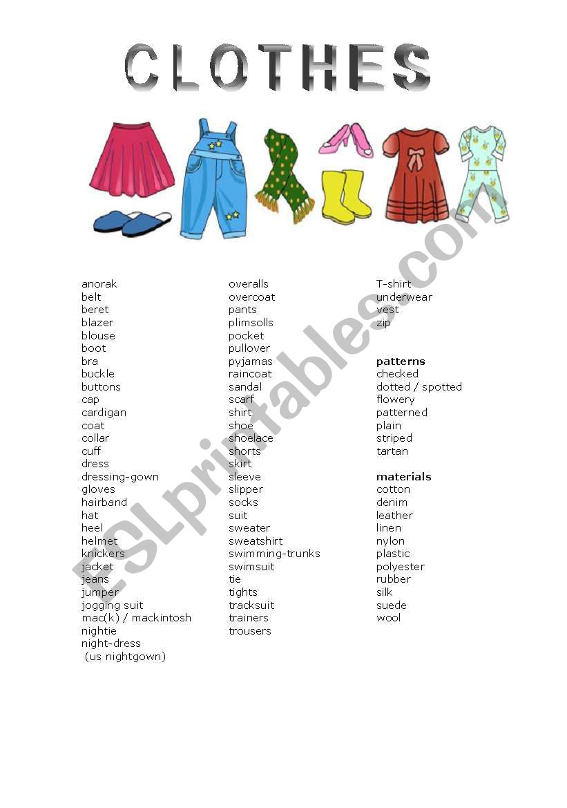Clothes And Other Related Vocabulary