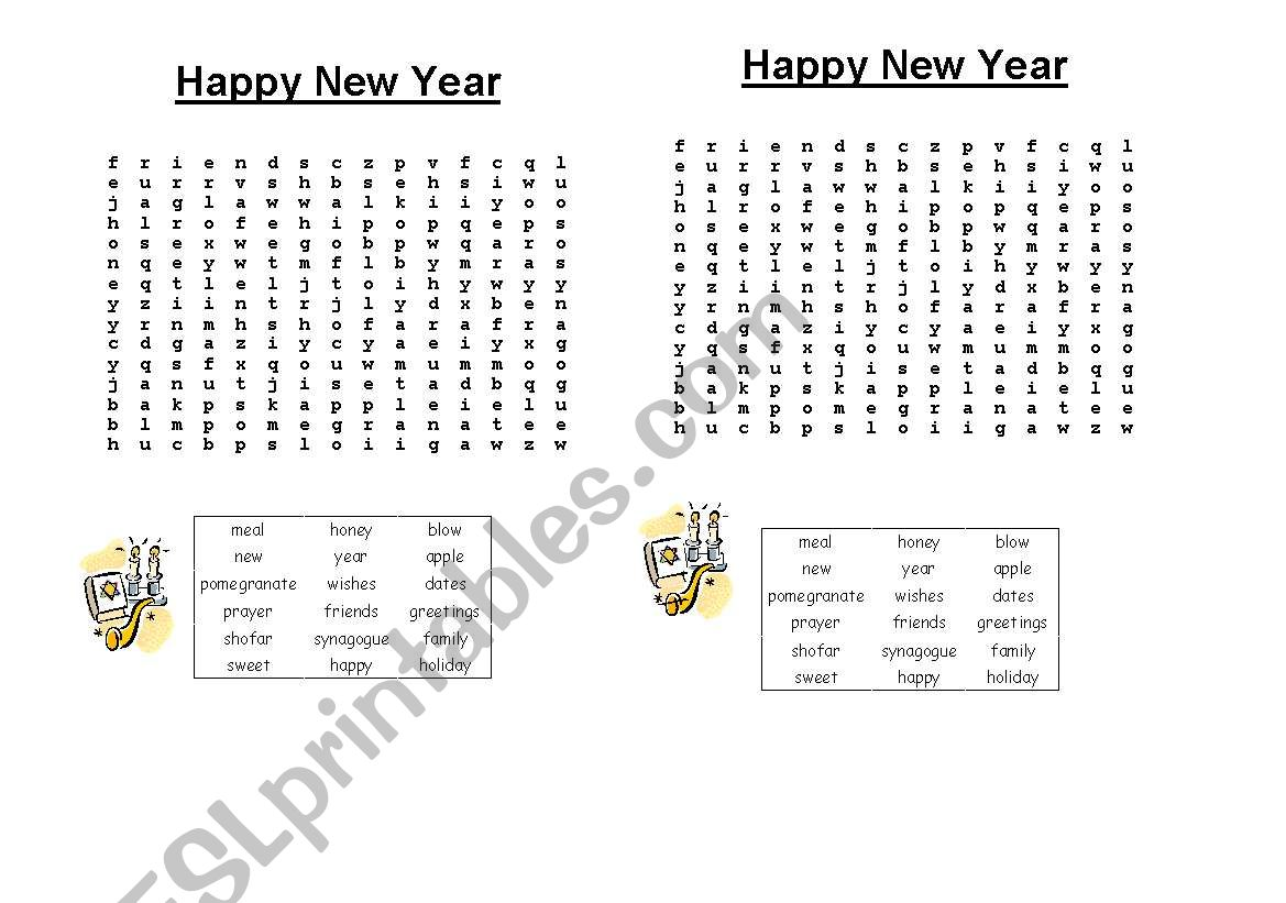 English Worksheets Jewish New Year