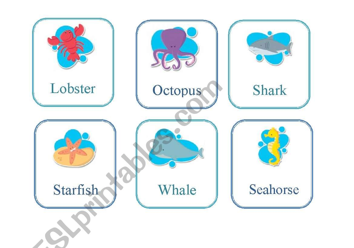 English Worksheets Flash Card Sea Animals