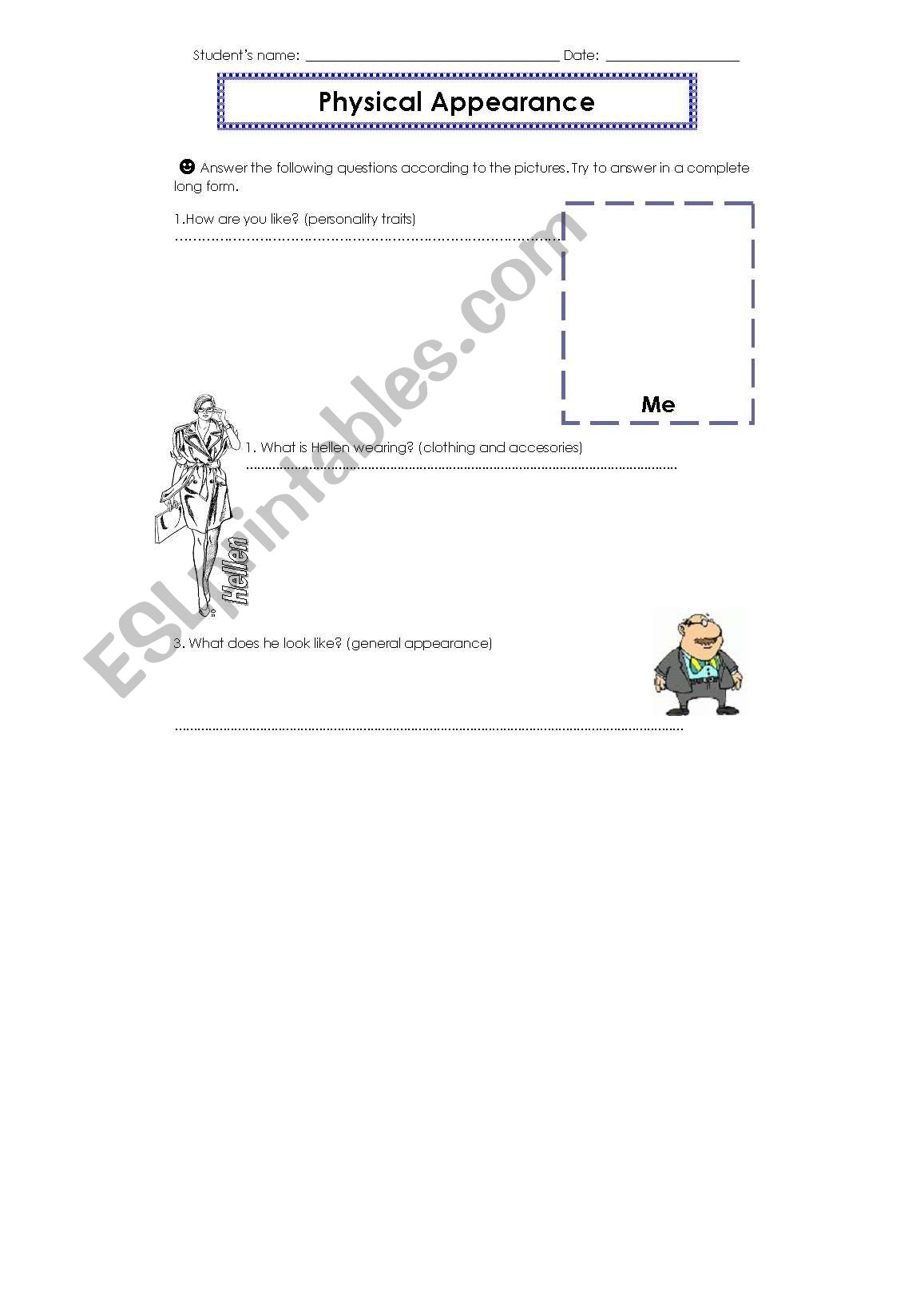 English Worksheets Physical Appearance Practice 2