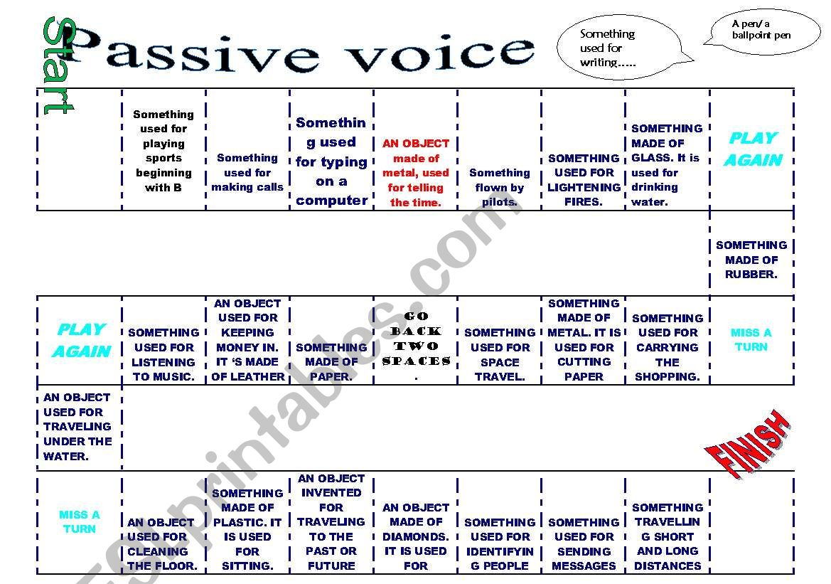 Passive Voice Board Game Guess The Word