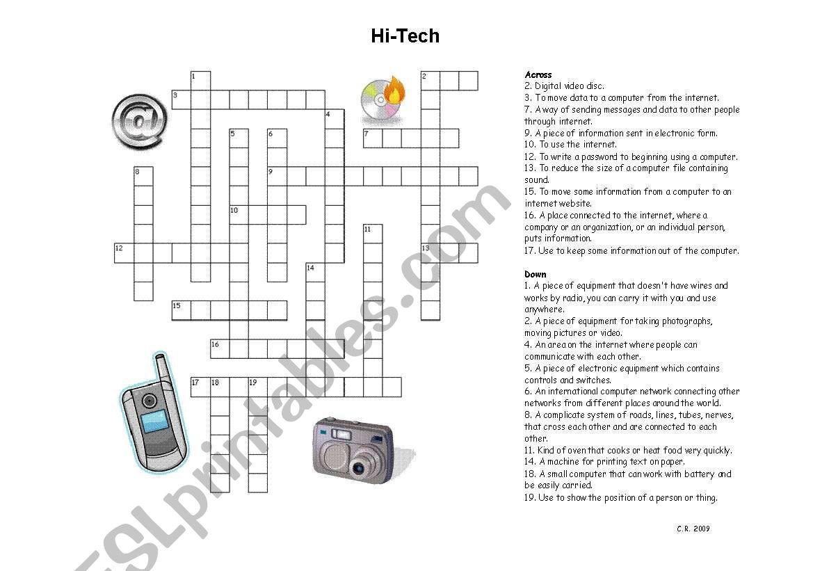 English Worksheets Hi Tech Crossword