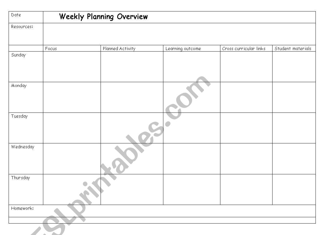 English Worksheets Weekly Timetable