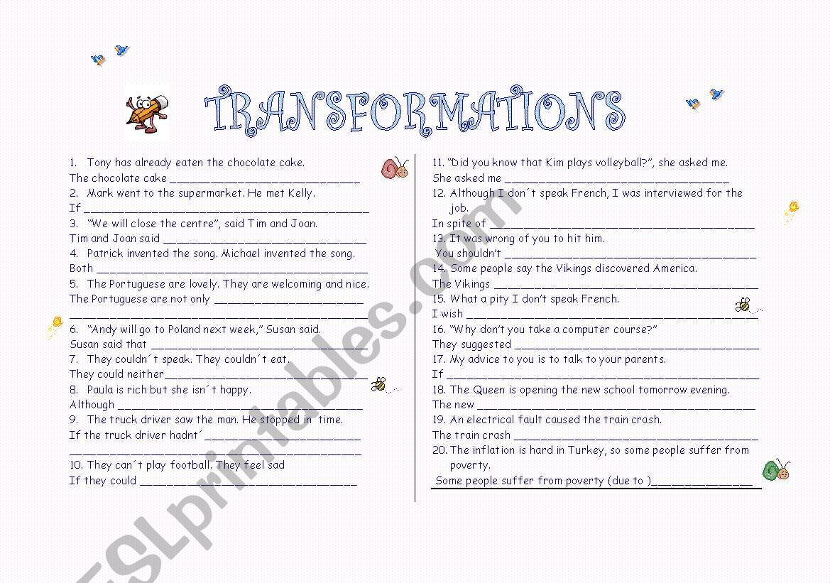 Transformations With Key Rewrite The Following Sentences
