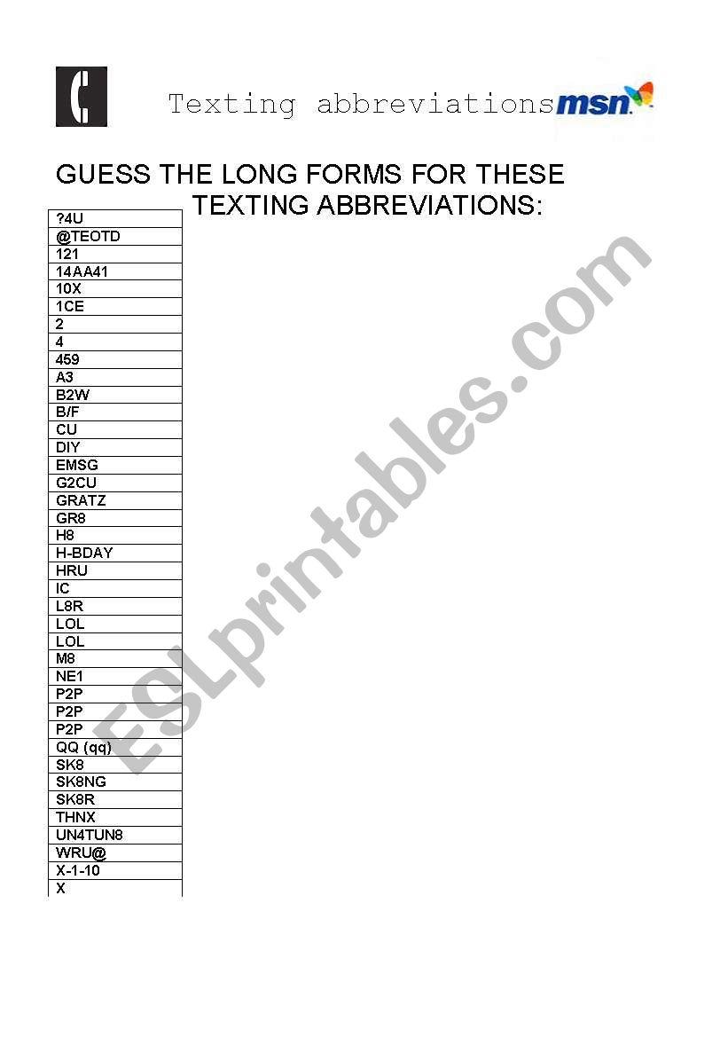 English Worksheets Texting Abbreviations