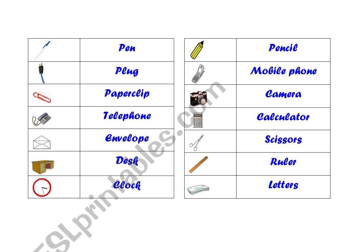 English Worksheets Office Vocabulary