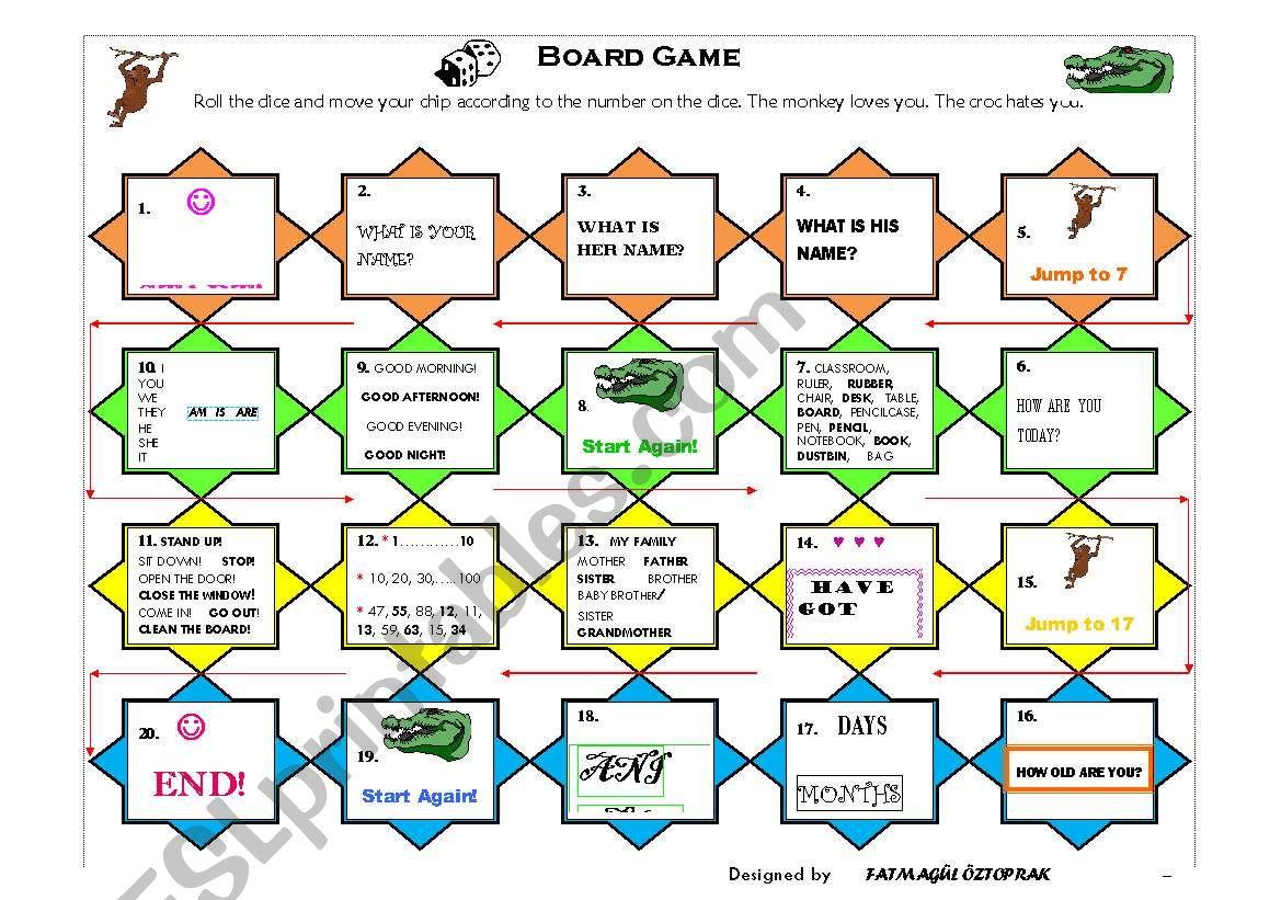 Crocodile Board Game Printable