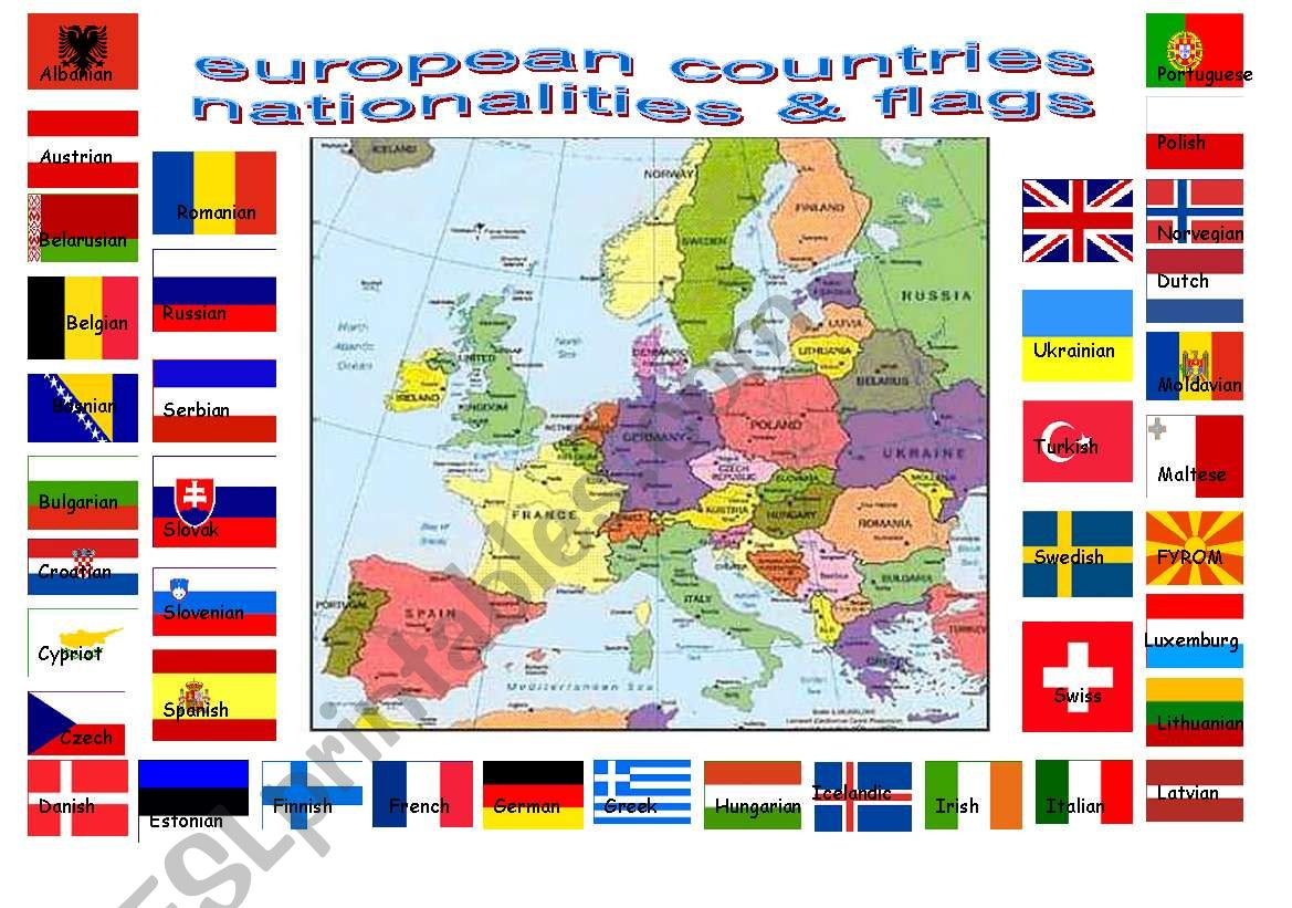 European Countries Flags And Nationalities