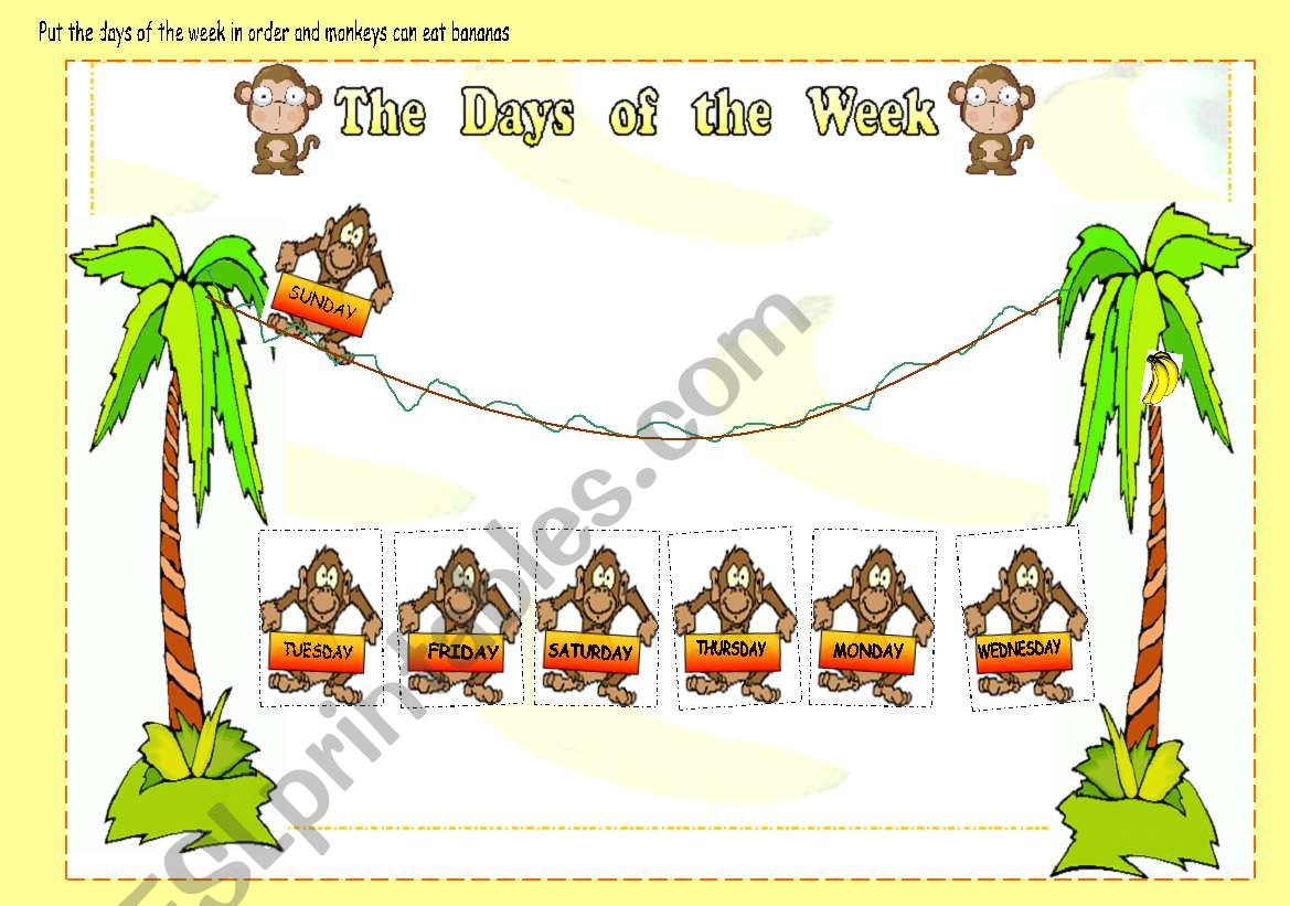 Help Monkeys To Put Days Of The Week In The Correct Order