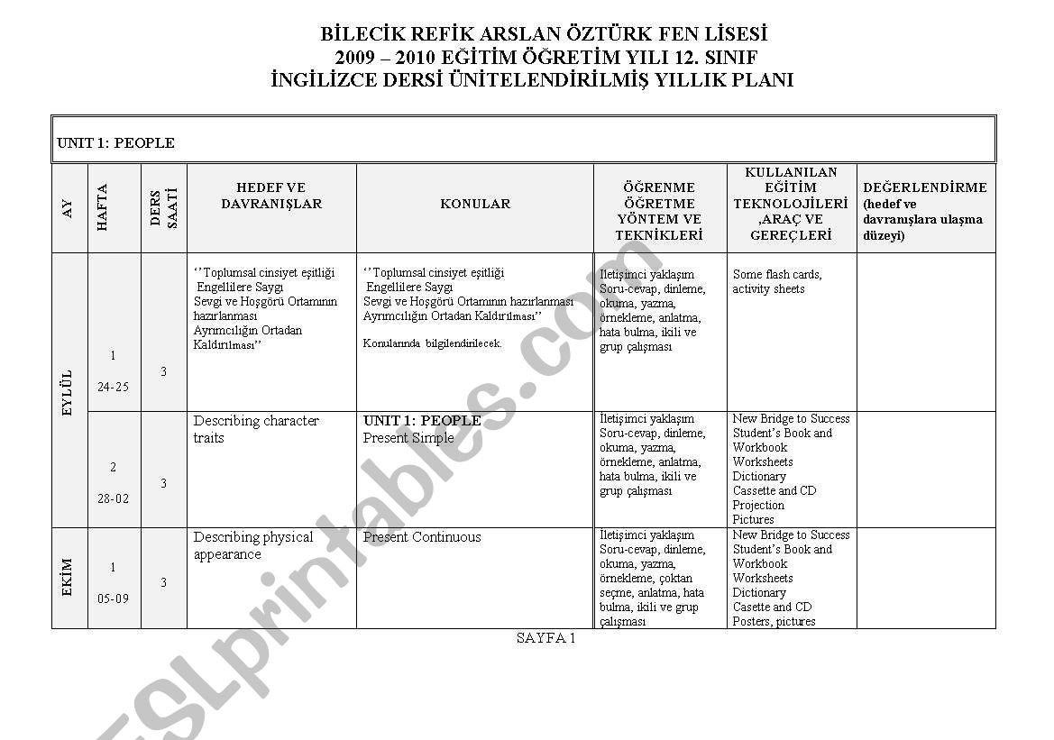 English Worksheets Yearly Plan For New Bridge To Success 12th Grade
