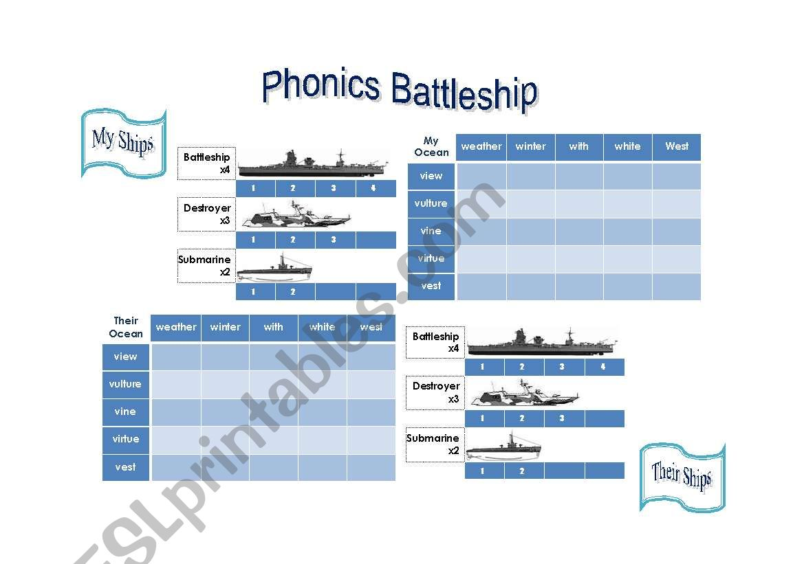 English Worksheets Phonics Battleship