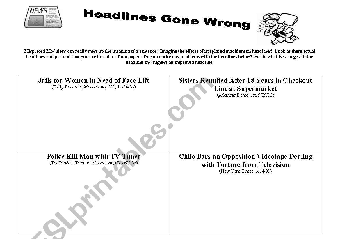 English Worksheets Misplaced Modifier Headlines