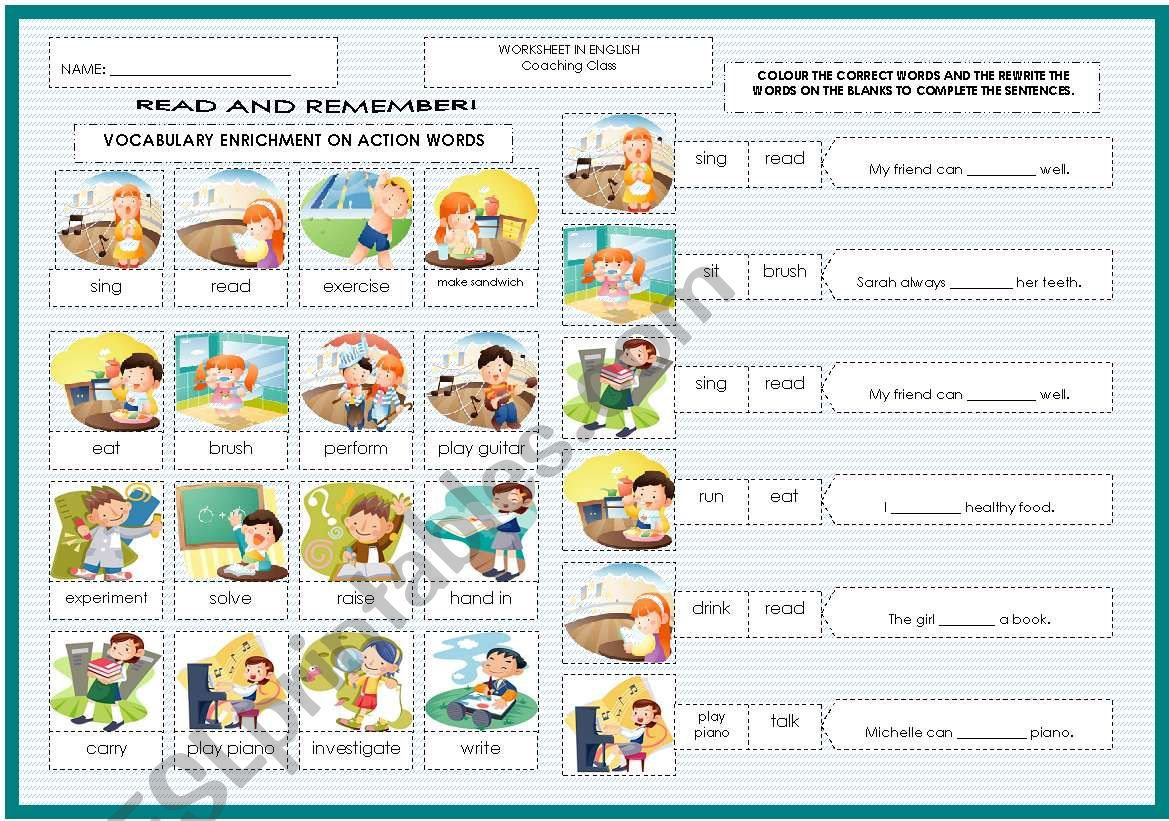 Vocabulary Enrichment On Simple Action Words