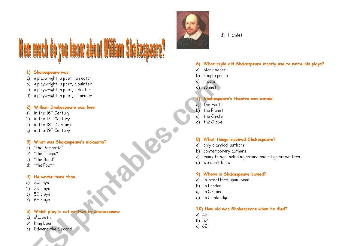 English Worksheets How Much Do You Know About Shakespeare