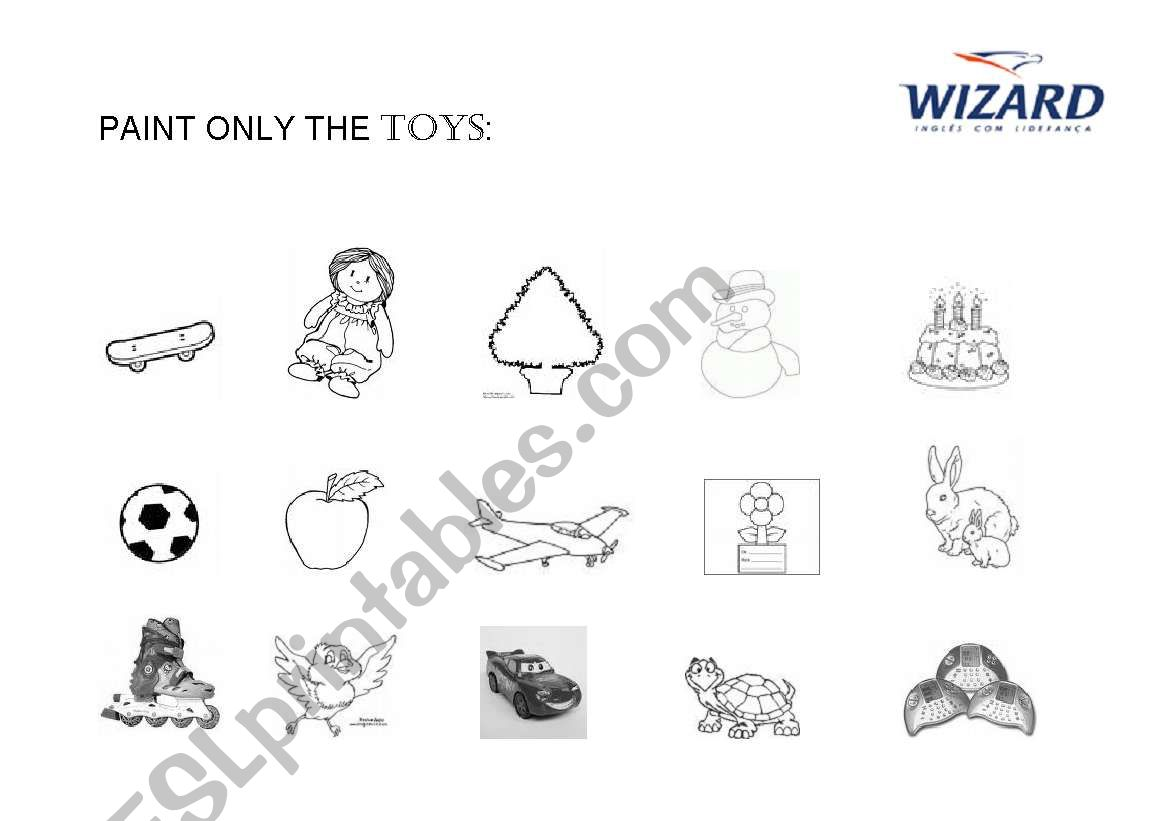 English Worksheets Paint Only The Toys