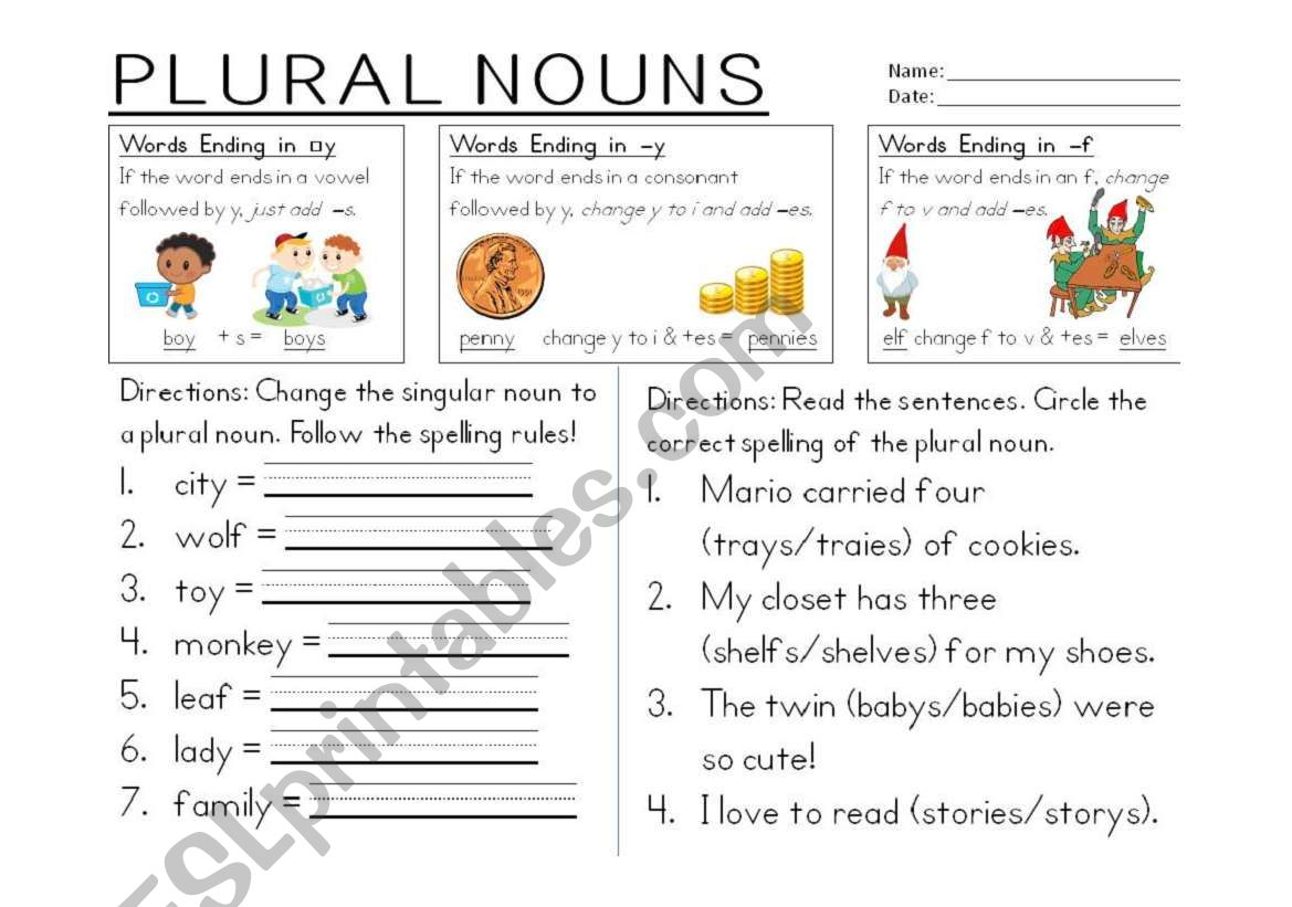 Plural Nouns Ending In Y And F